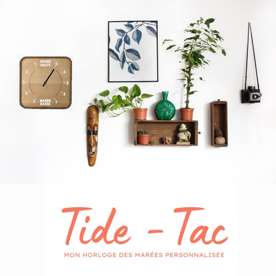 Tide-Tac - horloge des marées personnalisée et gravée - modèle carré